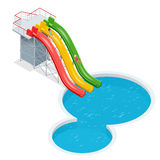Water slides  on a white background. Flat 3d isometric illustration. Water amusement park playground. Water slides  on a white background. Flat 3d isometric Stock Photos
