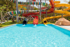 Water slike on outdoor swimming pool Stock Photography