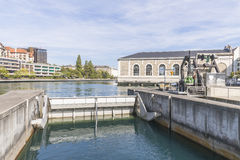 Water sluice on the river Royalty Free Stock Photos
