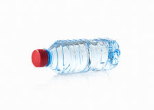 Water. Small plastic water bottle on white background Royalty Free Stock Photo
