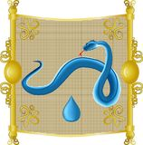 Water snake. An image of the snake, the water on the eastern calendar Stock Images
