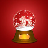 Water Snow Globe with Chinese Dragon Red vector illustration