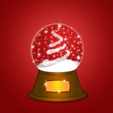 Water Snow Globe with Christmas Tree Sparkles Red vector illustration