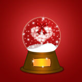 Water Snow Globe with Snowflakes Heart Red Stock Photos