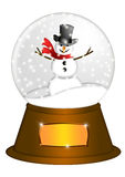 Water Snow Globe with Snowman Illustration Stock Photos