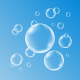 Water , soap, gas or air bubbles with reflection. Stock Images