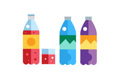 Water, soda and juice or tea bottles vector. Illustration. Set of vector bottles icons. Clean water, fresh juice, nature drinks. Water bottle isolated. Soda Royalty Free Stock Image