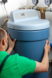 Water softener in boiler room. Instalation of a water softener in boiler room Stock Photos