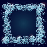 Water or soup bubbles background. Shampoo square frame of cool realistic water bubbles. Template for aqua park, swimming pool, diving club design. Cleaning soap Royalty Free Stock Photography