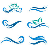 Water and Spa Logo Set. Water Wave and Spa Logo Collection stock illustration