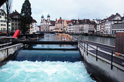 Water spike in the center of Lucerne, Switzerland. Stock Image