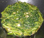 Water spinach. Sautéed with shrimps and garlic Stock Images