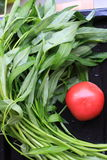 Water spinach & tomato Royalty Free Stock Images