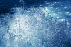 Water splash. Blue water splashes by boat motor Royalty Free Stock Photos