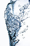 Clear water splash. Macro view of clear water splash isolated on white background Stock Photography