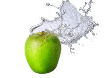 Water splash with apple  Royalty Free Stock Photo