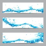 Water Splash Banner. Illustration of set of banner with water splash Royalty Free Stock Photos