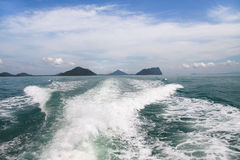 Water Splash behind a boat Royalty Free Stock Image