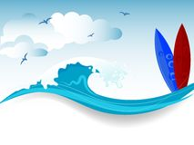 Water wave. Water splash in blue color Royalty Free Stock Photography