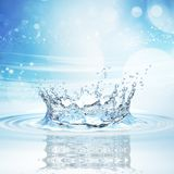 Water splash in dark blue color with a drop of water flying from above. 3d rendering Royalty Free Stock Photos