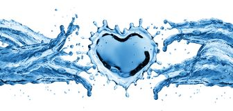 Water splash in the form of a heart. Royalty Free Stock Photography