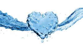 Water splash in the form of a heart. Isolated on white background. 3d rendering Royalty Free Stock Image