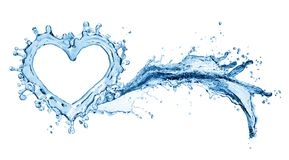 Water splash in the form of a heart. Isolated on white background. 3d rendering Royalty Free Stock Images