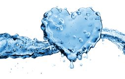 Water splash in the form of a heart. Isolated on white background. 3d rendering Stock Photos