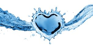 Water splash in the form of a heart. Isolated on white background. 3d rendering Royalty Free Stock Photography