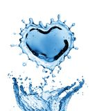 Water splash in the form of a heart. Isolated on white background. 3d rendering Stock Photography