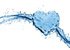Water splash in the form of a heart. Isolated on white background. 3d rendering Royalty Free Stock Photos