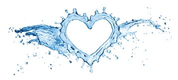 Water splash in the form of a heart. stock image