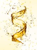 Water splash in the form of spiral gold color. 3D illustration Stock Photos