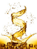 Water splash in the form of spiral gold color. 3D illustration Stock Image
