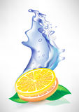 Water splash and fresh lemon slices Stock Photo