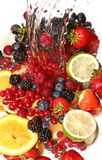 Water splash and fruits. Small display of fresh fruit Royalty Free Stock Photo
