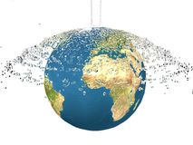 Water splash  on globe Stock Images