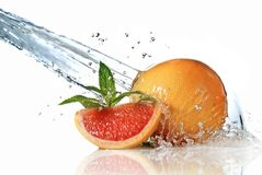 Water splash on grapefruit with mint Royalty Free Stock Photo