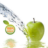 Water splash on green apple isolated on white Stock Image
