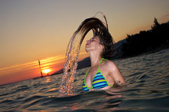 Water splash by hair Royalty Free Stock Photo