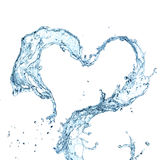 Water splash heart. Over white background stock illustration
