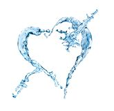 Water splash heart shape. Water splash in heart shape isolated on a white background Stock Photography
