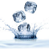 Water Splash and Ice Cubes Royalty Free Stock Photography