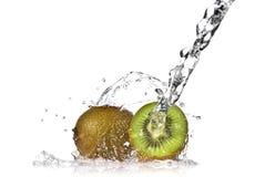 Water splash on kiwi isolated Stock Photography
