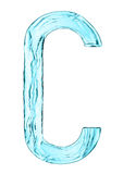Water splash letter C with light blue color Stock Image
