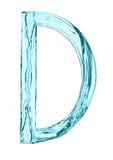 Water splash letter D with light blue color Stock Images