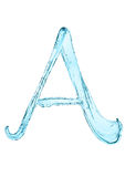 Water splash letter A with light blue color Stock Images
