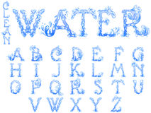 Water splash letters font Stock Photos