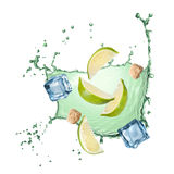 Water splash with lime, ice and sugar isolated Stock Photos