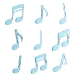 Water splash, musical symbols set Royalty Free Stock Photos